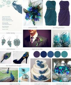 Sophisticated peacock wedding inspiration board by tammy
