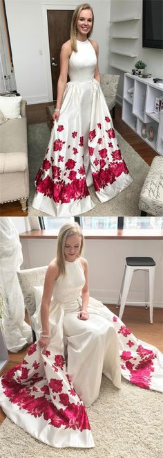 fashion jewel white satin prom dress with floral, elegant a-line detachable printed evening dress Prom Dresses For Teens, Mermaid Prom Dresses, Dress Outfits, Fashion Dresses, Moda Fitness, Moda Fashion, Party Gowns, Dress To Impress, Designer Dresses