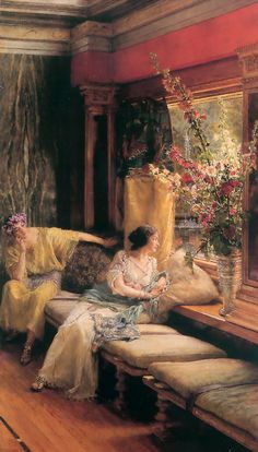 "Sir Lawrence Alma-Tadema (Sir Lawrence Alma Tadema) (1836-1912)  Vain Courtship  Oil on canvas  1900  41.3 x 77.5 cm  (16.26"" x 30.51"")  Private collection"
