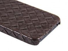 Gevlochten Leder iPhone 5 Hardcover Snap Case Bruin