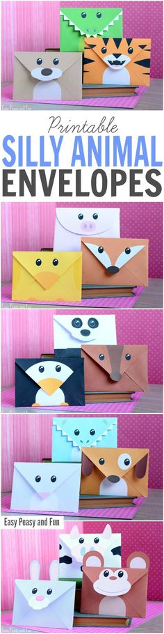 Want to encourage your kids to write more? Get these printable silly animals envelopes and get them excited about writing their next letter. There are 15 different envelopes for your kids to choose fr (Diy Gifts) Fun Crafts, Diy And Crafts, Paper Crafts, Diy For Kids, Crafts For Kids, Envelope Art, Envelopes, Animal Crafts, Craft Activities