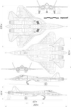 Sukhoi PAK FA T-50 Blueprint - Download free blueprint for 3D modeling