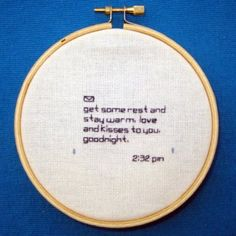 text message embroidery.  subversive would have been better. texts, sweet text, crafti, new technology, hobbies, text messag, messages, embroidery, kisses