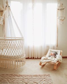 Hanging Crib in Macrame in Cream (hand-woven wicker base) hanging Bassinet – handwoven base detail, wood baby rocker, anthropologie sheer curtains, neutral nursery for baby – studio picture Baby Boy Nursery Room Ideas, Baby Bedroom, Baby Room Decor, Girl Nursery, Kids Bedroom, Nursery Decor, Cream Nursery, Whimsical Nursery, Bohemian Nursery