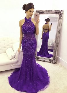 Unique Purple Mermaid Prom Dresses Crystal Beaded Evening Gowns Halter Neck Open Back Mermaid Prom Dresses Lace, Fitted Prom Dresses, Prom Girl Dresses, Purple Bridesmaid Dresses, Prom Dress Stores, Prom Dresses Online, Prom Gowns, Beaded Evening Gowns, Mermaid Evening Gown