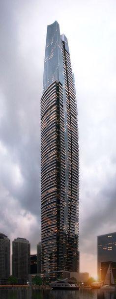 DAMAC Heights, Dubai, UAE by Aedas Architects :: 86 floors, height 335m :: under construction #teamrealtyandinvestmentsolutions
