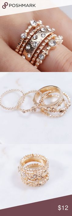 Rose Gold | Fashion Stackable Boho Rings •Brand New!!! •Rose Gold Crystal Fashion Stackable Boho Rings •5 Peice Set ♡ Price Is Firm ♡ Jewelry Rings