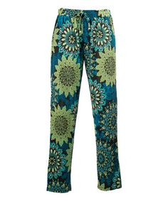 Look at this #zulilyfind! Lime Geometric Floral Palazzo Pants - Plus Too #zulilyfinds