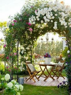 DIY Garden Sitting Areas To think about for back yardsmaller patio with stepables surrounding? Arbor and plants instead of umbrella? The post DIY Garden Sitting Areas appeared first on Garden Easy. Cottage Garden Design, Diy Garden, Dream Garden, Backyard Cottage, Garden Projects, Garden Trellis, Rose Garden Design, Spring Garden, Garden Shade