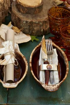 Woodland Place Settings. Antlers, lace, paper and twine come together for every guest coming to the table.