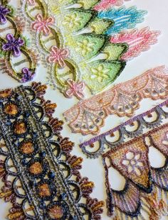 lace colored with copics, alcohol inks, or distress ink.  Paint, Chalk, Watercolors or sprays.