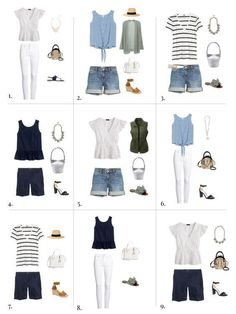 23 Ideas Clothes For Women In Casual Capsule Wardrobe Summer Outfits Women 20s, Casual Summer Outfits, Spring Outfits, White Outfits, Capsule Outfits, Fashion Capsule, Capsule Wardrobe Summer, Travel Wardrobe Summer, Plus Size Capsule Wardrobe