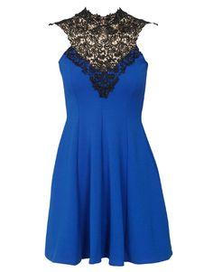 Applique Neckline Open Back Skater Dress in Royal Blue £ 24.95 #chiarafashion