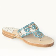 Iconic, flawlessly chic, silkily comfortable and incomparably durable. A perfection of proportion and scale that makes every foot look pretty. Blue Sandals, Palm Beach Sandals, Emerald Blue, Spring 2016, How To Look Pretty, Pure Products, Chic, Classic, Gold