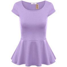 Simlu Short Sleeve Womens Peplum Shirt Reg. and Plus Size Peplum Top... (£11) ❤ liked on Polyvore featuring tops, purple top, plus size short sleeve shirts, plus size purple top, shirt tops and plus size peplum shirt