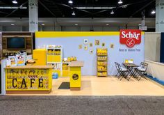 Condit created this bright inline trade show exhibit for Schar at the NPEW show. With bold colors, simple graphics and vintage accessories, this small booth made a big statement.