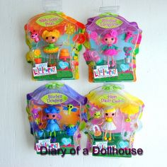 Found Series 13 Lalaloopsy Mini dolls today while shopping.  Mari Golden Petals, Rosebud Longstem, Bluebell Dewdrop, and Happy Daisy Crown.