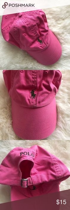 Polo Pink Baseball Cap Polo Pink Baseball Cap. Adjustable fit. Green embroidered logo. A little wear right under the horse but otherwise in great condition. One Size. Polo by Ralph Lauren Accessories Hats