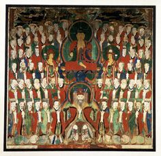 Painting of the Tejaprabha Buddha (Chisong Gwangbul) together with the North Pole star (Pukkuk song), surrounded by figures representing the navagraha (nine planets), twenty-eight constellations and the twelve western signs of the zodiac; mineral colours on coarse silk. Red rectangular panel on centre bottom containing inscription and date. Choson Dynasty Date: 1850-1860 (dated) Production place: Korea  Materials: silk  Technique: painted Height: 136 centimetres Width: 139.6 centimetres…
