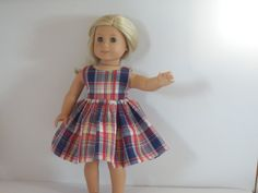 American Girl Doll Clothes Sleeveless Red White by something2do
