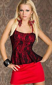 Rode Elegante bandjes peplum jurk (Bust :86-1... – EUR € 15.83