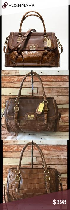 """Coach Madison SpectatorEmbossedExoticFlap Carryall COACH MADISON Spectator Embossed Exotic Flap Carry-all, Style No 18611. In EXCELLENT condition, this stunner is made from a combination of leather textures that includes croc-embossed, ostrich skin, calf leather and patent leather;  in TOFFEE. The hardware is contrasting in golden brass. Features include: Segmented clip on strap drops 17"""". Molded handles drop 6"""", Leather and gold metal signature hang tags, Three compartments interior with…"""