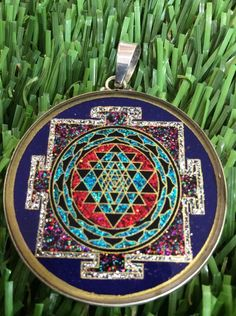 "Sri Yantra OM Lapis Gemstone 1 5 8"" Medallion Pendant Necklace Sterling s Gift   eBay"