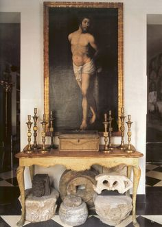 Madrid apt. - world of interiors - interesting collection of stone artifacts