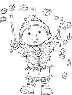 In autumn leprechaun and leaves Fall Coloring Pages, Coloring Sheets For Kids, Pattern Coloring Pages, Adult Coloring, Coloring Books, Colouring, Kobold, Christmas Colors, Gnomes