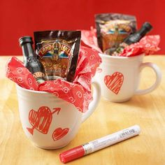 Personalize hot chocolate mugs with a ceramic marker, and add two packets of hot chocolate, and mini bottles of Irish cream.  Package with pretty tissue paper.  Personalize before you sit down, write a message or draw a picture on one of the mugs and trade.  Wrap up his favorite movie separately and start date night.