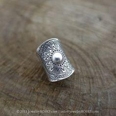 BOHO 925 Silver Ring-Gypsy Hippie Ring,Bohemian style,Statement Ring R107 JewelryBOHO,Handmade sterling silver BOHO Tribal printed ring