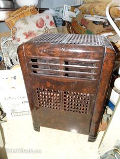 Online bidding available! Dark Brown Porcelain Gas bathroom Space Heater Antique Heater
