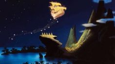 """The Golden Ship """"We will fly all over the world, all over the sky, all over time We will fly to all the planets, we found the secrets We will fly!"""" We will fly lyrics. Peter Pan Mary Blair concept art for Peter Pan, 1953 Walt Disney, Deco Disney, Disney Magic, Disney Pixar, Tinkerbell Disney, Disney Fun, Disney Stuff, Disney Peter Pan, Peter Pan Flying"""