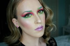 """Day 5/30 days of #selfiesteem featuring color blocking  Yesterday was a busy day full of multiple makeups and wicked photos which I absolutely can't wait to share! I'm feeling so inspired Brows: @nyxcosmetics_canada color mascara """"Perfect pear""""  """"mint julep"""" Eyes: @morphebrushes 35B palette  @bennyemakeup lumiere Cream color """"Chartreuse""""  """"Sun Yellow"""" Cheeks: @katvondbeauty shade and light  @makeupforeverca blush  @colourpopcosmetics """"Over the Moon"""" highlighter Lips: @maccosmetics """"Lured in""""…"""