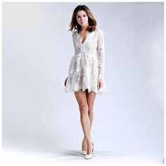 Beige Plunge Lace Dress