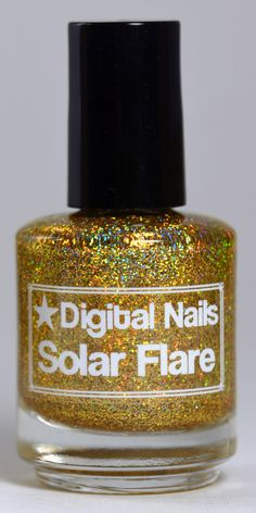 Solar Flare: an insane sparklefest of gold holographic glitter nail lacquer by Digital Nails by DigitalNails on Etsy https://www.etsy.com/listing/192953424/solar-flare-an-insane-sparklefest-of