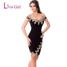 """HOT PRICES FROM ALI - Buy """"Dear Lover roupas feminina Sexy Party Robes Gold Lace Applique Black Off Shoulder Mini Dress vestidos de festa elegantes from category """"Women's Clothing & Accessories"""" for only USD. Tube Top Dress, The Dress, Club Dresses, Formal Dresses, Prom Dresses, Cheap Dresses, Short Dresses, Vintage Party Dresses, Dress Vestidos"""