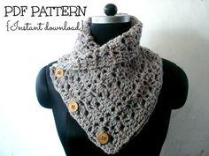 Crochet cowl pattern INSTANT DOWNLOAD PDF, chunky cowl pattern, neckwarmer pattern, button up cowl, crochet scarf cowl, Pattern No. 57