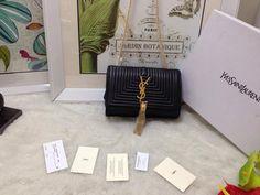 S/S 2015 Saint Laurent Bags Cheap Sale-Classic MONOGRAM SAINT LAURENT Tassel Satchel in Black Matelasse Leather