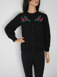 Vintage 1980s Does 1940s Unworn Black Cardigan With Floral Detail available to buy online at Virtual Vintage Clothing