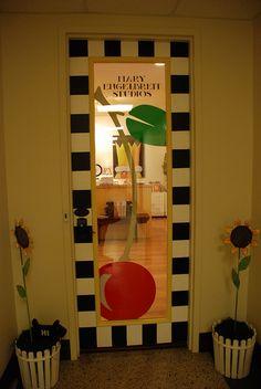 What a fabulous front door #MaryEngelbreit #CherryGlass #Checkerboard