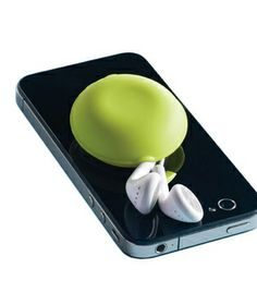 Macaroon Earbud Holder — It suctions to  the back of your smart phone.