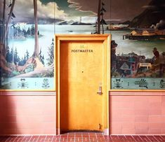 Accidentally Wes Anderson wood door labeled postmaster in pink hallway with forest mural. / sfgirlbybay - June 01 2019 at Wes Anderson Style, Wes Anderson Movies, Lauren Anderson, Accidental Wes Anderson, Craft Armoire, Interior And Exterior, Interior Design, Interior Doors, Room Interior