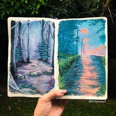 Artist Fills Her Sketchbooks With Vibrant Landscape Paintings Inspired by Studio Ghibli Films Kunstjournal Inspiration, Art Journal Inspiration, Painting Inspiration, Art Inspo, Watercolor Illustration, Watercolor Art, Nature Illustration, Manga Illustration, Arte Sketchbook