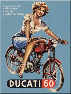 Ducati 60 Classic Vintage Old Bike Motorcycle Pin-up Girl Gi.- Ducati 60 Classic Vintage Old Bike Motorcycle Pin-up Girl Gift Fridge Magnet Art Bike Poster, Motorcycle Posters, Motorcycle Art, Bike Art, Ducati Motorcycle, Pin Up Posters, Cool Posters, Vintage Advertisements, Vintage Ads