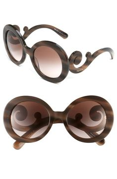 Prada 'Baroque' Round Sunglasses Pink Horn/ Brown Gradient One Size