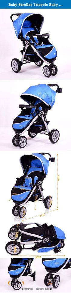 Baby Stroller Tricycle Baby Car Shock Absorbers Trolley Luxury Aluminum Alloy (Blue). takes compact, lightweight strolling to new heights. Suitable from birth to 25kg Safety - 5 point safety harness - Durable yet lightweight frame - Engineered suspension for a smooth ride - Lockable swivel wheels - Easy on/off footbrake Multi-Use - 2 way rear and front facing seat - Suitable for cafe or high chair substitute Comfort & Convenience - One handed compact fold - Height adjustable handle -...