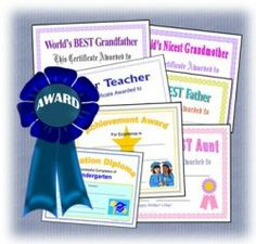 Printable Awards and Achievement Certificates for kids and adults will help you create school diplomas, achievement awards, certificates, employee...