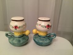 Vintage Ceramic Oil Lamp Salt and Pepper Shakers Japan by VintageLove50 on Etsy