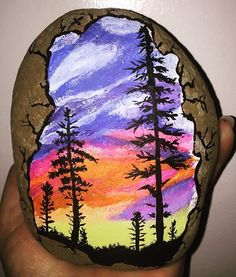 Finished! I am fairly proud of myself, I was a bit hesitant when starting out and unsure of myself, once I got into my groove it was a lot of fun. It's my PNW sunset rock. #vancouverwa #pnwsunset #followyourart #pnw #communityart #shareyourart #painting #sunset #vancouverrocks